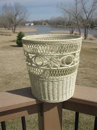 vintage painted wicker waste basket off white cream handwoven