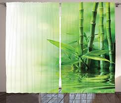 Asian Curtains Asian Curtains By Ambesonne Bamboo Stalks Reflection