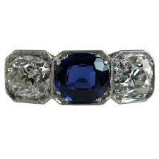 gia certified sapphire and diamond 3 stone ring art deco jewelry