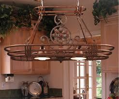 cute unique shape kitchen pot rack with lights come with copper