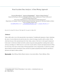 road accident data analysis a data mining approach pdf download