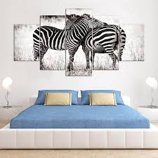 online get cheap zebra white aliexpress com alibaba group 5 panel hd two black and white zebras art print canvas art wall framed paintings for