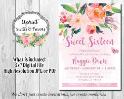 sweet sixteen floral invite watercolor invitation elegant