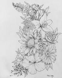 tattoo flower drawings pictures floral drawings drawings art gallery
