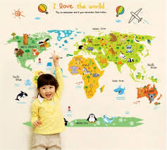 World Map Wall Sticker by Childrens World Map Wall Sticker Home Decoration Planner Ideal