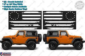 american jeep 2 us flag vinyl decals fits jeep wrangler distressed grunge