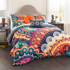 King Size Quilted Bedspreads Maya Quilted Comforter Navy Orange 5 Piece Set King Walmart Com