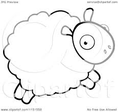 cartoon clipart of a black and white sheep leaping vector