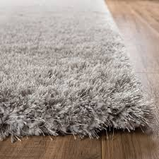 Modern Shaggy Rugs by Shimmer Shag Silver Grey Solid Modern Luster Ultra Thick Soft