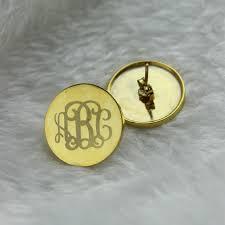 Gold Name Earrings Monogram Stud Earrings In Gold