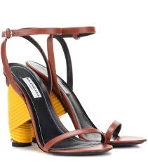 balenciaga bistrot leather sandals brown yellow women balenciaga