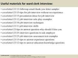 ward clerk cover letter
