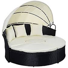 amazon com tangkula outdoor patio round daybed with canopy