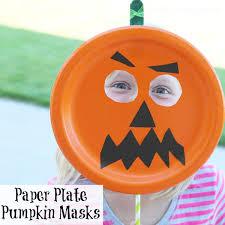 pumpkin mask easy paper plate pumpkin mask onecreativemommy