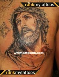 dramatic like detailed black and white jesus on chest