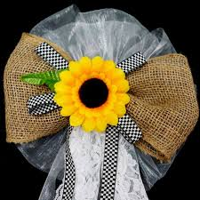 sunflower ribbon 24 wide burlap ribbon with sunflower on floral lace wedding
