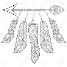 coloring pages of indian feathers boho chic ethnic arrow with feathers freedom concept hand drawn