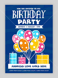 birthday party invitation card or welcome card design happy