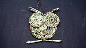 paper owl craft owl from rolled newspaper craft youtube