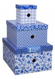 blue nested storage boxes pack of 3 whsmith