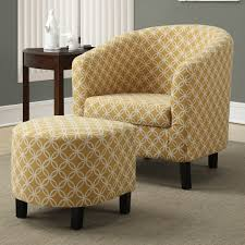 Living Room Upholstered Chairs Stunning Patterned Fabric Upholstered Club Chair With Ottoman For