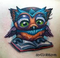 book nerd owl by scott olive tattoos