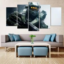 Halo Master Chief Game Framed Wall Canvas Art Multi Panel