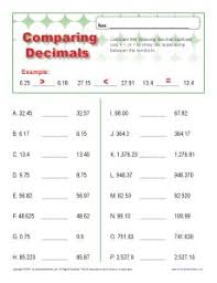 comparing decimals decimal place value worksheets for 4th grade