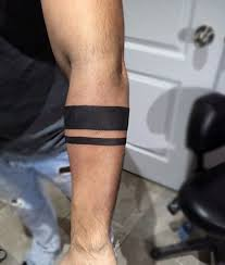 simple guys armband tattoo of two solid black ines inked