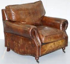 Club Armchair Leather Rare Charles Ii 1674 Carved With Hunting Scenes Writing Bureau