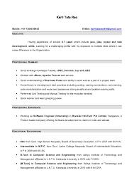 Sample Resume For Experienced Net Developer Resume 1 Year Experience Java 28 Images Sle Resume For Java