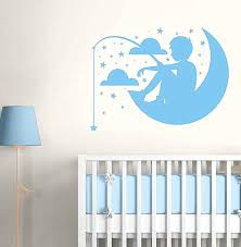 Boy Nursery Wall Decal Blue Tree Vinyl Nursery Wall Decals For Boys Small Size Monogram