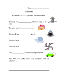 adjectives in sentences missing adjectives sentence worksheet by nangamy teaching