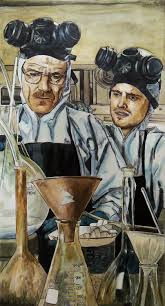 walt and from breaking bad in ink and paint on canvas