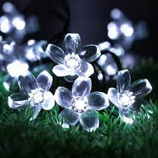 solar outdoor string lights easydecor flower 50 led 8