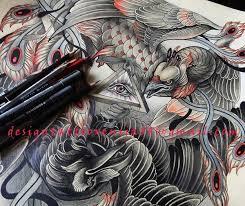 tattoo design raven and phoenix fragment by xenija88 on deviantart