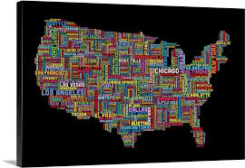 us map framed united states cities text map multicolor on black wall