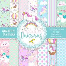 Digital Backgrounds Unicorn Digital Paper