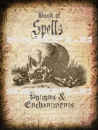 halloween book cover of spells potions and enchantments printable