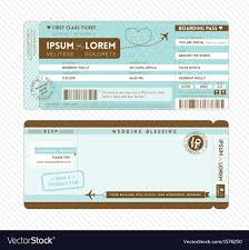 boarding pass invitations boarding pass wedding invitation template vector image
