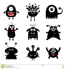 happy halloween free clip art black monster big set cute cartoon scary silhouette character
