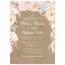 wedding invitations floral pink vintage floral peony border wedding invitation kraft
