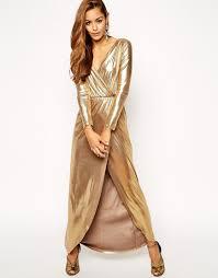 gold maxi dress gold wrap maxi dress at asos