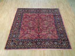 pink hand woven rug 7x7 square fine persian lilihan sarouk natural