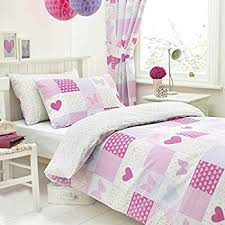 Kids Single Duvet Cover Sets Textile Warehouse Patchwork Pink Butterfly Hearts Girls Kids