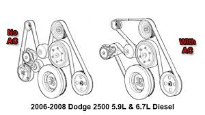 2006 2008 dodge 2500 5 9l and 6 7l diesel serpentine belt diagram