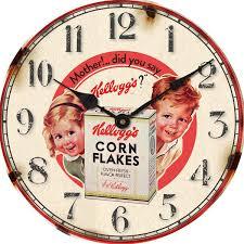 kellogs vintage wall clock cornflakes boy and 30cm kc10101