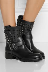 black biker style boots valentino studded leather biker boots in black lyst