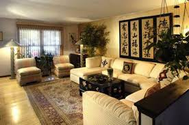 asian living room design with japanese wall decor asian living