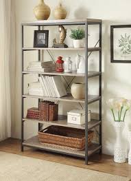 homelegance daria 26in bookcase weathered wood top with metal